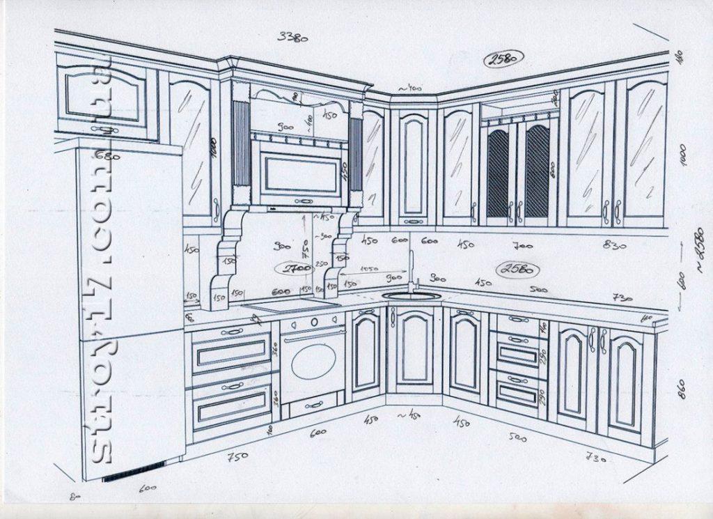 Чертеж кухни, (мебель) фото