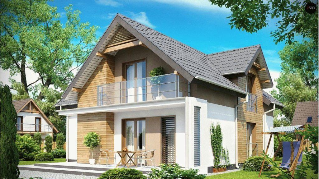 Каркасный дом с балконом лоджией фото