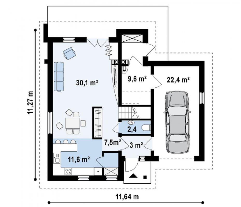 План каркасного дома по проекту Z197 фото 2
