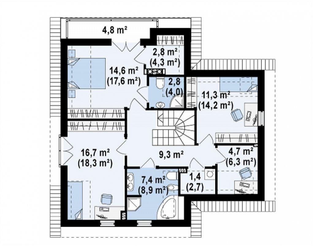 План каркасного дома по проекту Z197 фото 1