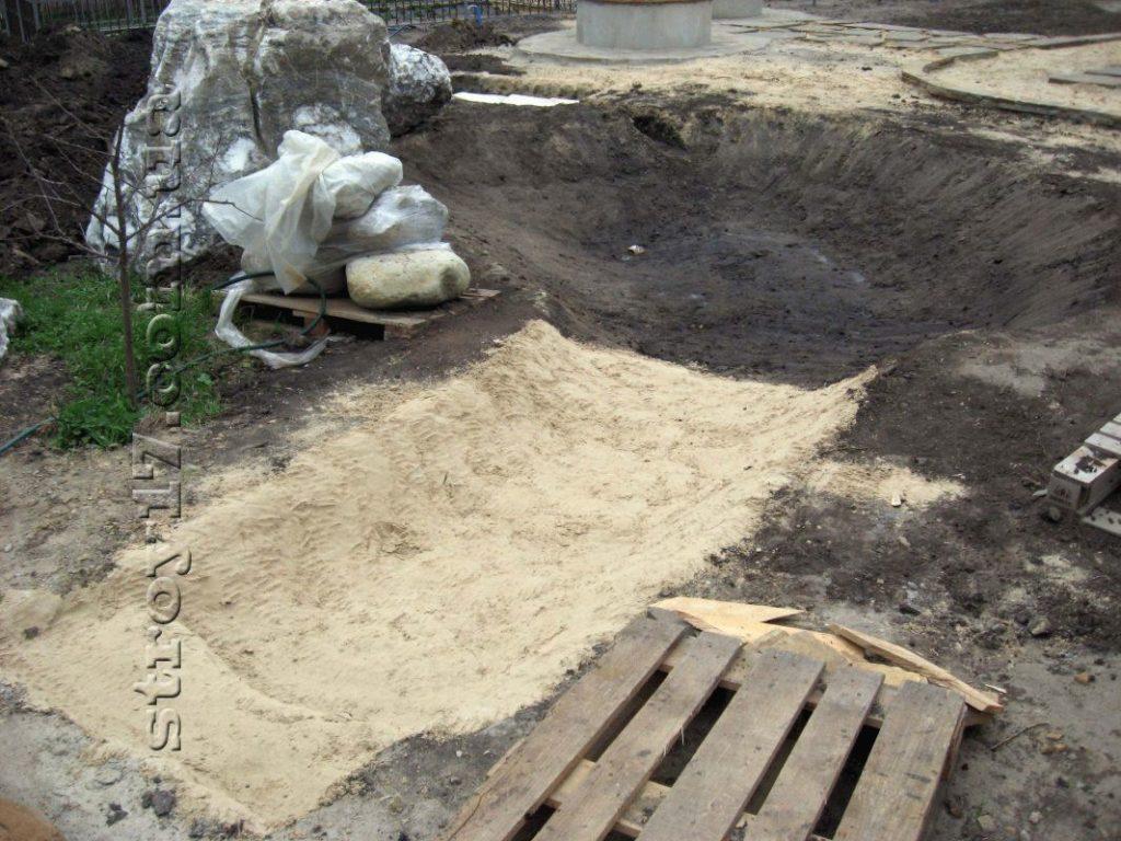 Просыпка песком котлована фото