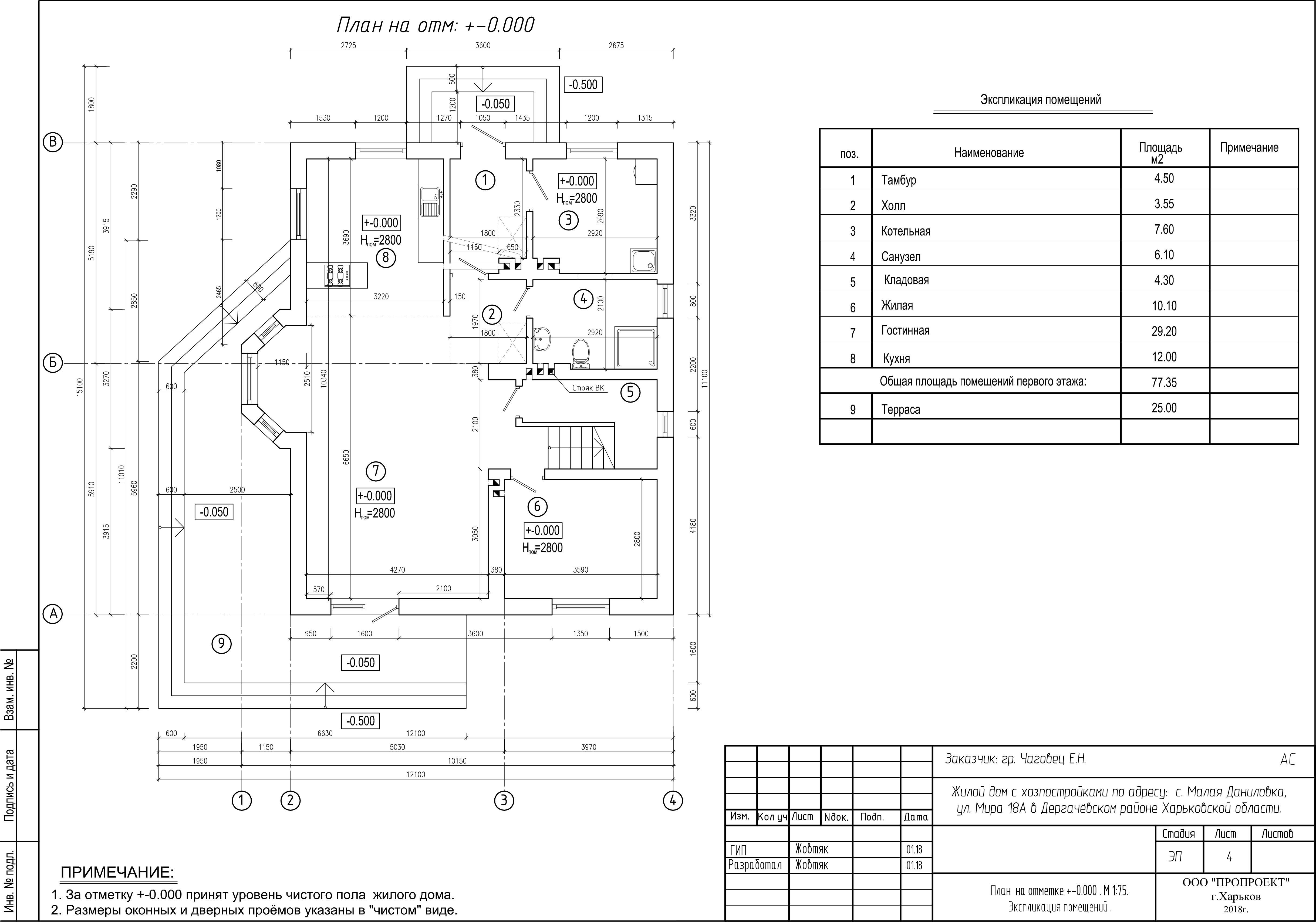 План первого этажа дома в Малой Даниловке фото