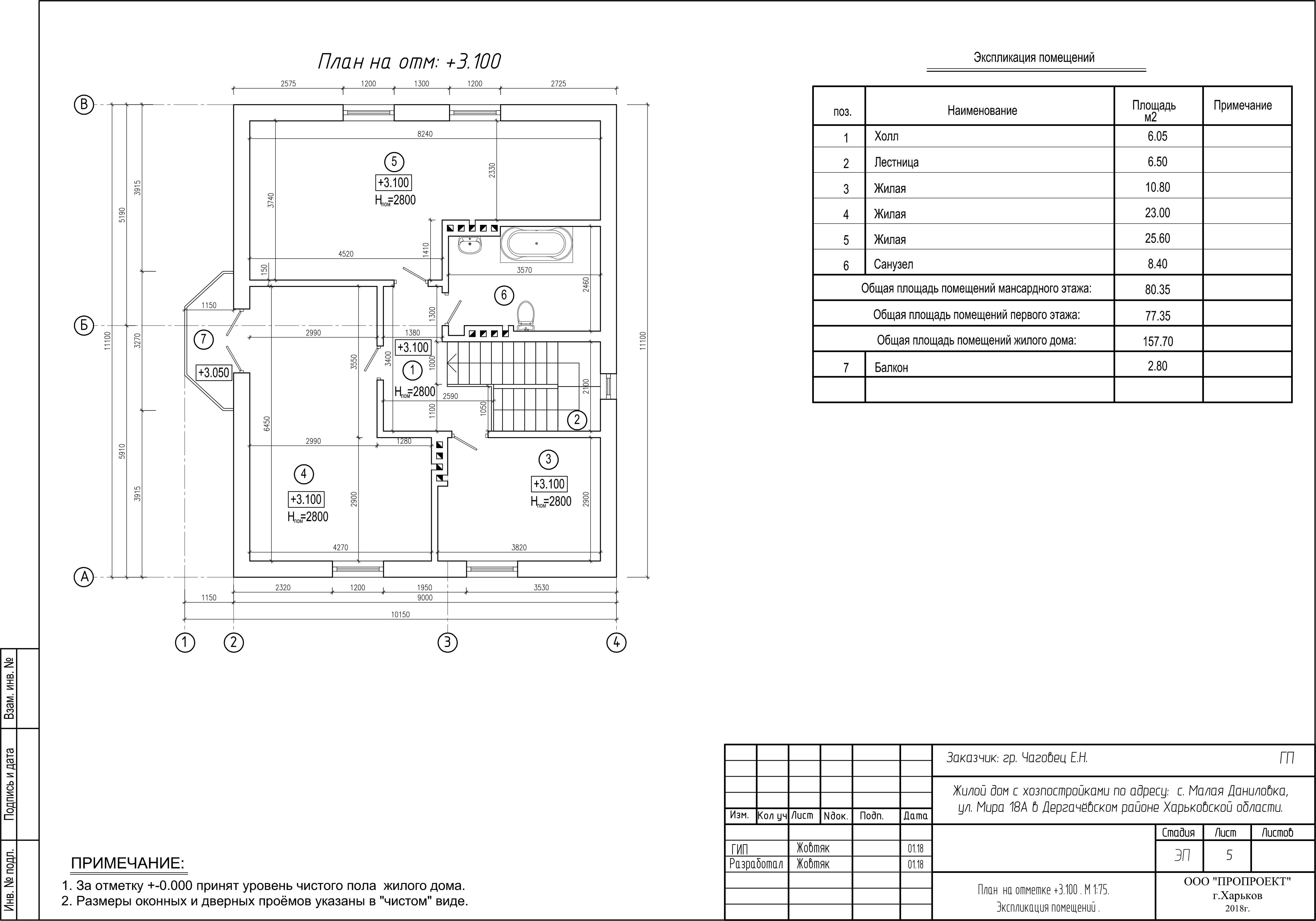 План второго этажа дома в Малой Даниловке фото