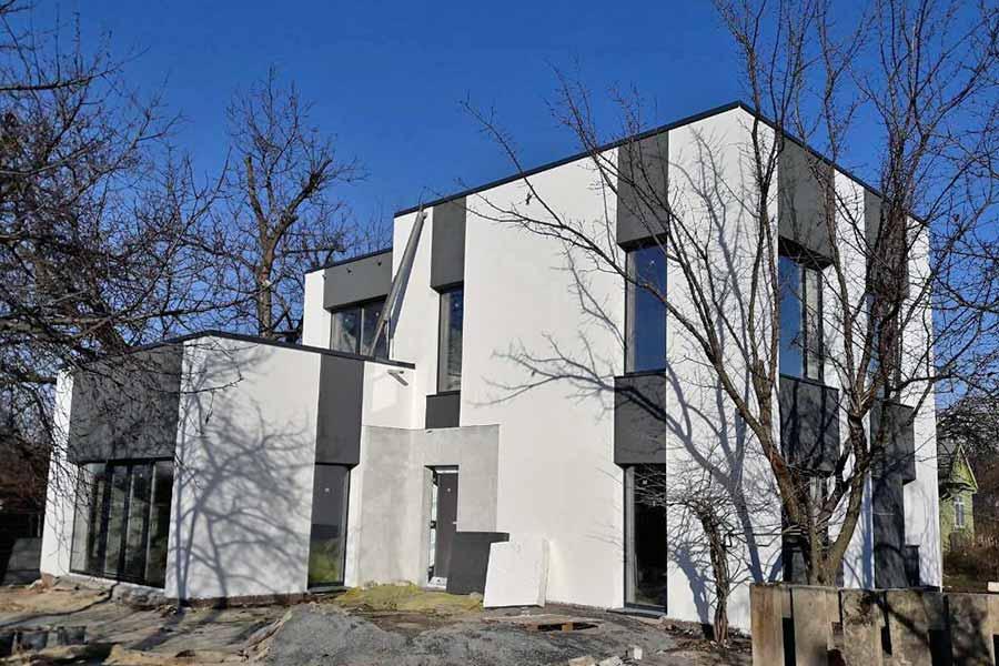 Дом из комбинированных блоков фото