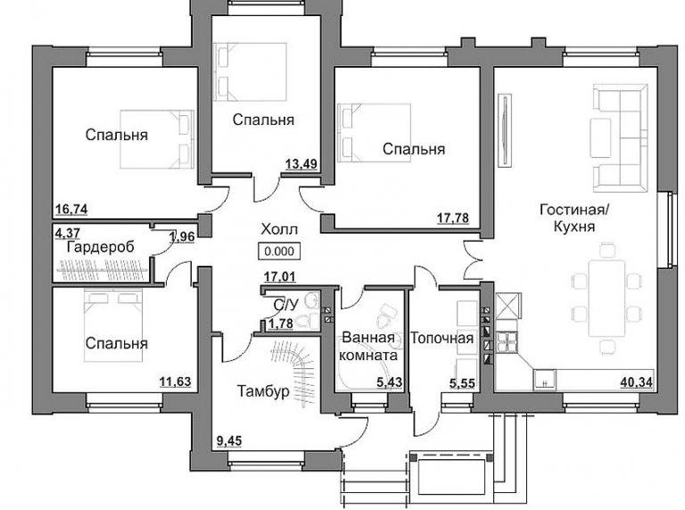 Планировка одноэтажного дома фото